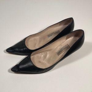 Jimmy Choo Black Leather Heels Women 40.5 (wear)
